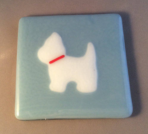 Fused Glass Standing Westie Dog Coaster
