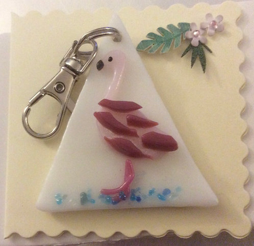 Glass Flamingo Keyring Card