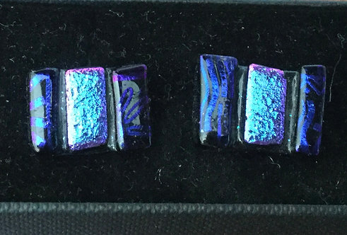 Dichroic Blue Rectangle Cufflinks
