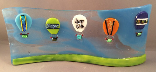 Freestanding  Fused Glass Hot air Balloons over Hill Wave