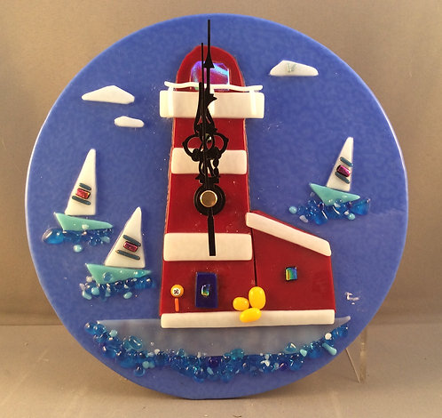 Fused Glass Lighthouse Wall Clock