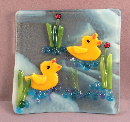 Fused Glass Small Duck Dish