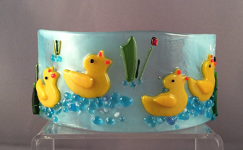Freestanding Fused Glass Curve Ducks on the Water