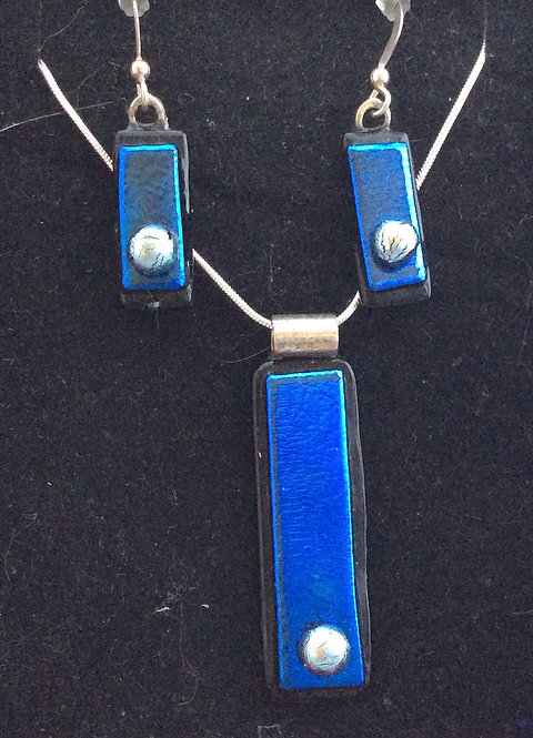Dichroic  Glass Rectangle necklace & drop earring set