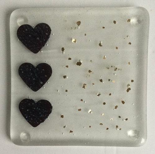Glass Copper Foil Heart Coasters