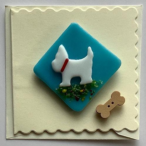 Glass Dog Magnet Card