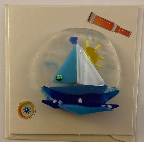 Glass Boat in the sun Magnet Card