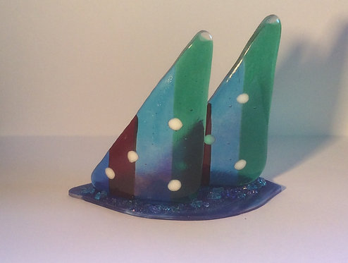 Frestanding  Fused Glass Twin Sails