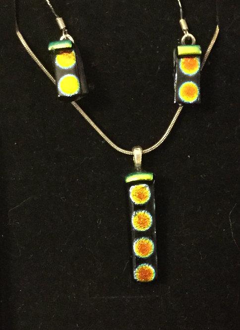 Dichroic Rectangle Spot Jewellery Set