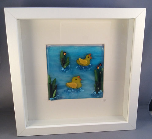 Fused Glass Ducks on the River Picture