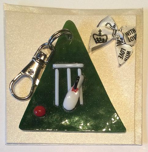 Glass Cricket Keyring Card