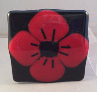 Fused Glass Poppy Coaster