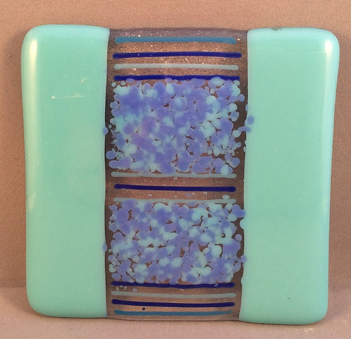 Fused Glass Blue Bar Coaster