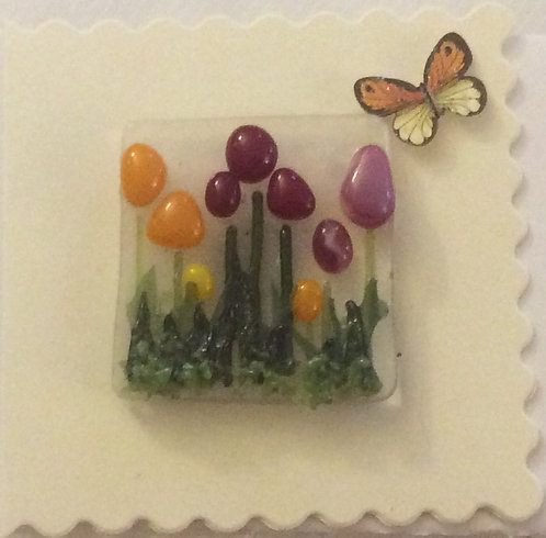 Glass Tulip Magnet Card