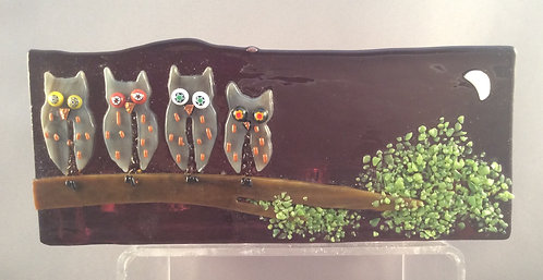 Fused Glass Night Owl Tealight