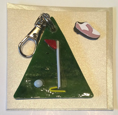 Glass Golf Keyring Card