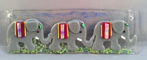 Fused Glass Elephants On Parade Hanger