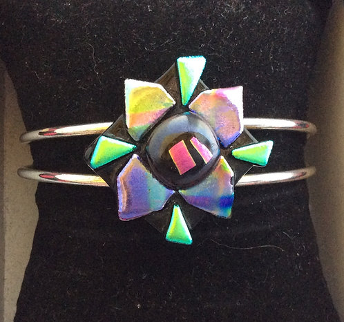 Dichroic  Glass Flower Bangle