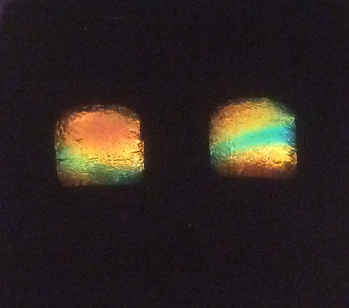 Dichroic Multcoloured Square Earrings