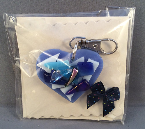Fused Glass Heart Keyring Card