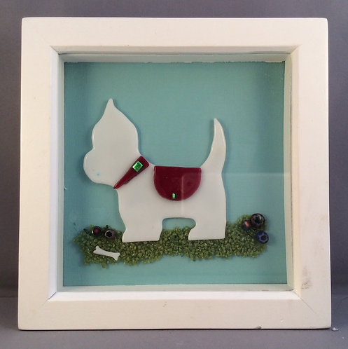 Fused Glass Westie Dog Picture