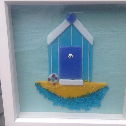 Fused Glass Beach Hut Picture