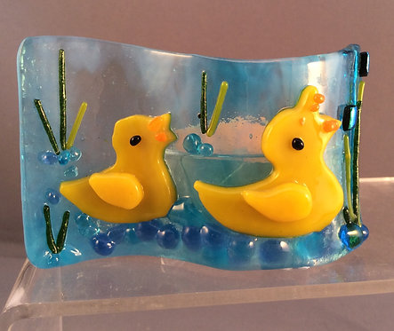 Fused Glass Duck on The River Tealight