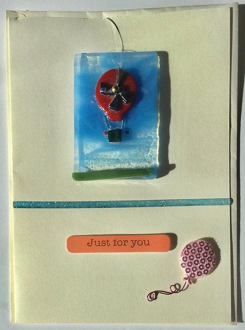 Glass Hot Air Balloon Card