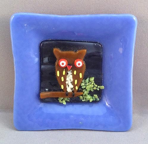 Fused Glass Owl Dish