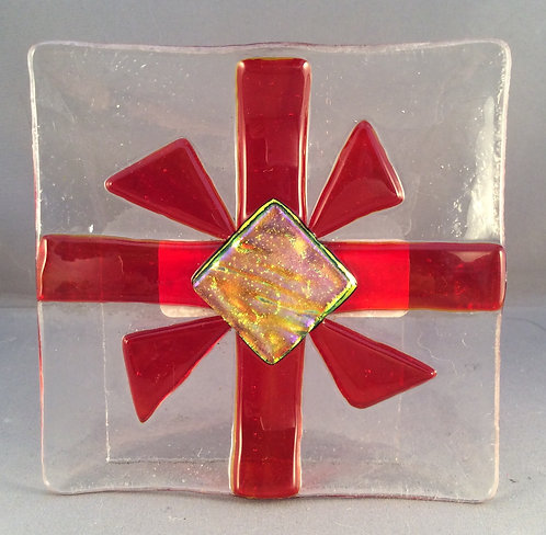 Fused Glass Christmas Parcel Dish