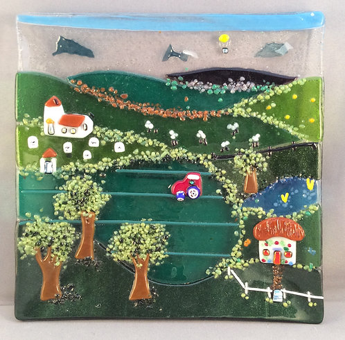 Fused Glass Square Country Scene Dish
