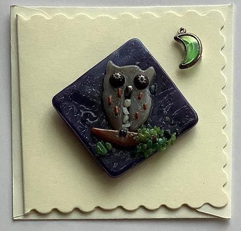 Glass Owl Magnet Card