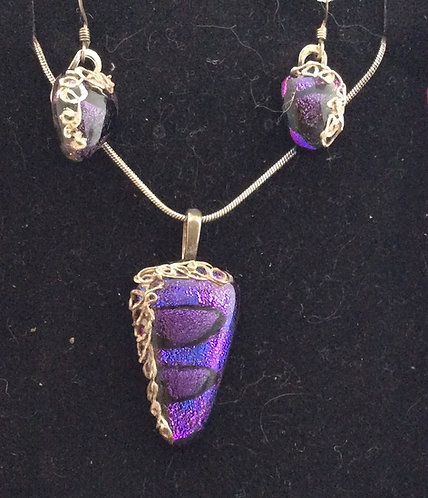 Dichroic Silver Edge Jewellery Set