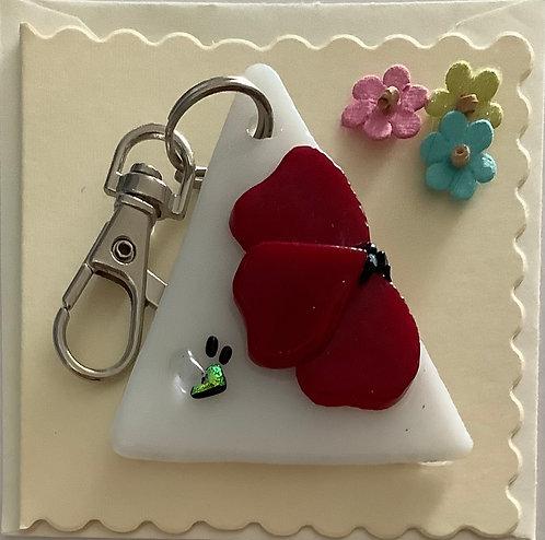 Glass Poppy Keyring Card