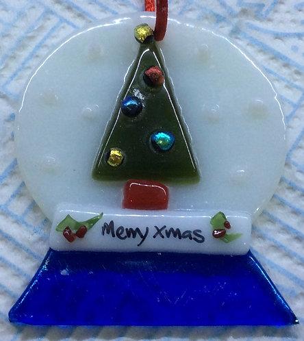 Fused Glass Snowglobe Christmas Tree Hanger
