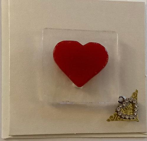 Glass Heart Magnet Card