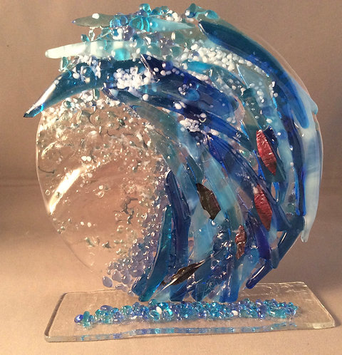 Freestanding Fused Glass Wave