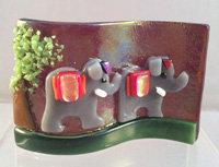 Fused Glass Elephants on Parade Tealight