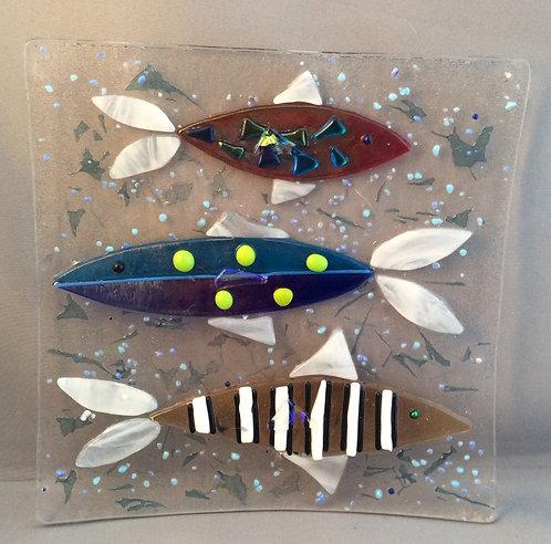 Fused Glass Square Fish Dish