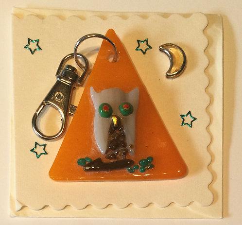 Glass Owl Keyring Card