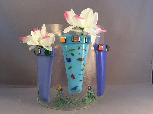 Freestanding  Fused Glass Flower Pots