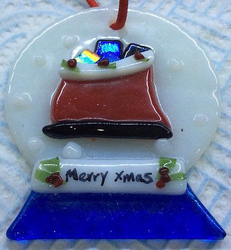 Fused Glass Snowglobe Sledge  Christmas Hanger