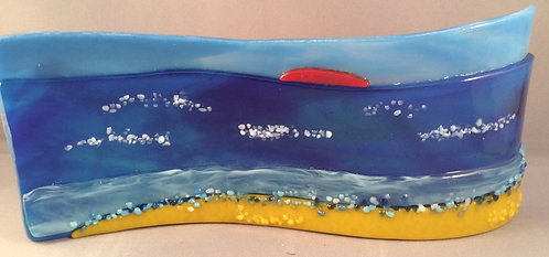 Freestanding Fused Glass Sea Scene Wave