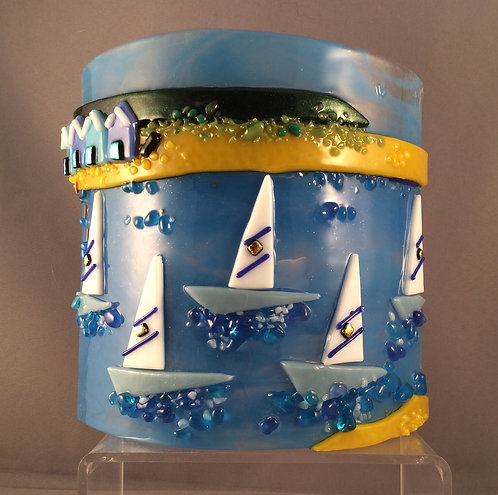 Freestanding Fused Glass Curved Boats & Beach Huts