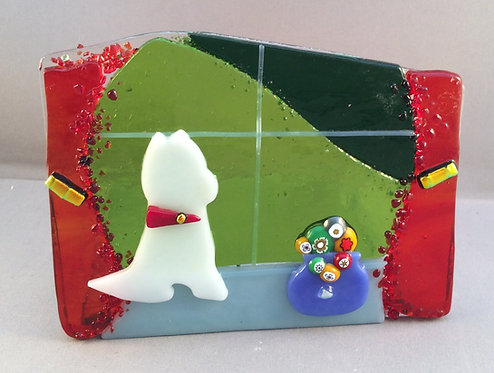 Fused Glass Westie Dog At The Window Tealight