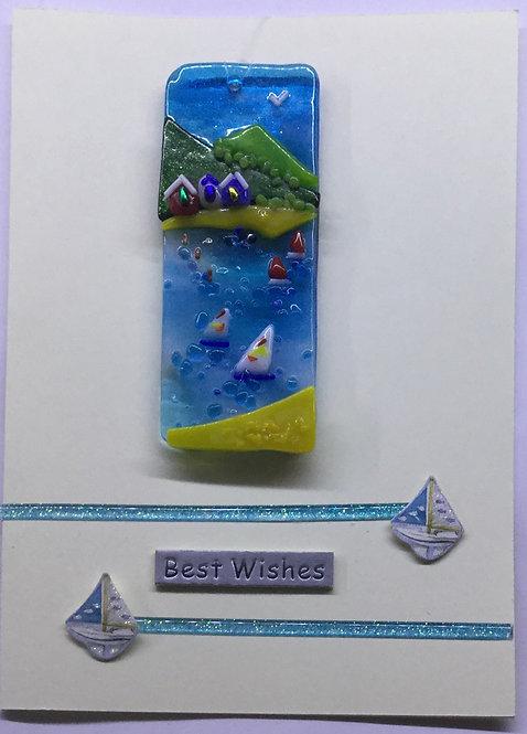 Glass Beachut Sea Scene Card