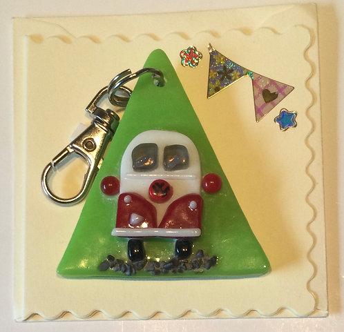 Glass Campervan Keyring Card