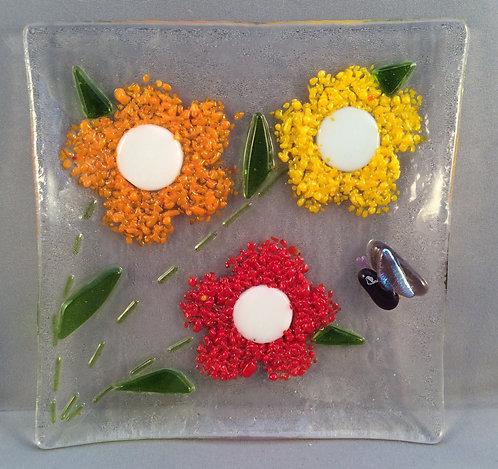 Fused Glass  Fritt Flower Dish
