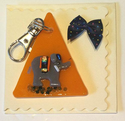 Glass Elephant  Keyring Card