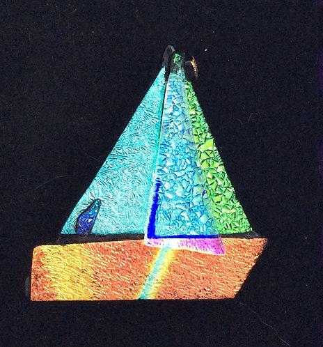 Dichroic Glass Boat  Brooch